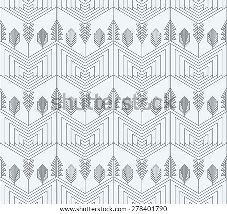 Visual effect geometrical pattern with pines, forest and Christmas tree, natural abstract seamless background.  - stock vector