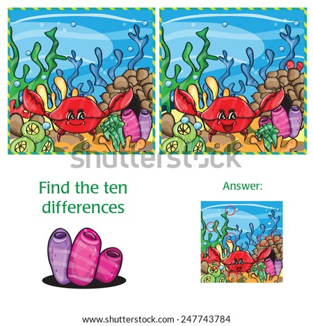 Visual Game find 10 differences with answer  - vector file - stock vector