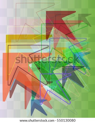 visual print into arrows vector background, arrangement of trendy set