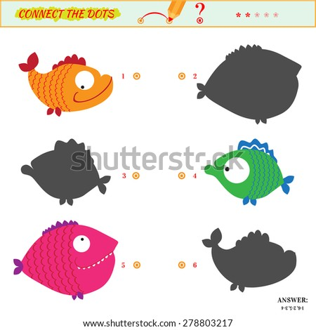 Visual puzzle or picture riddle. Shadow Matching Game. Connect the dots picture. Puzzle for kids. Answer included.