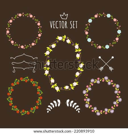 Vitage flowers vector design elements. Retro floral set for wedding invitations or other design. - stock vector