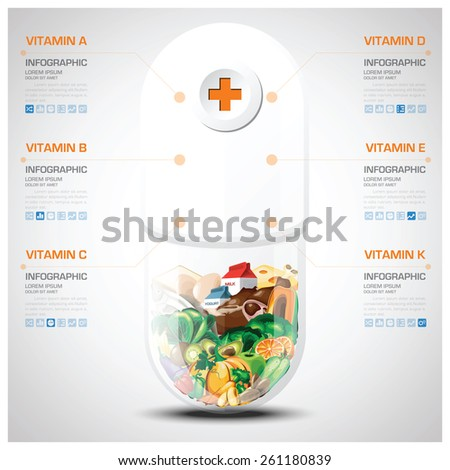 Vitamin Nutrition Food Pill Capsule Chart Stock Vector 261180839