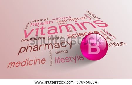 Vitamin B 12 element for a healthy life in the word cloud - stock vector