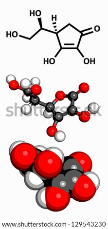 Vitamin C (ascorbic acid), molecular model. Atoms are represented as spheres with conventional color coding: hydrogen (white), carbon (grey), oxygen (red) - stock vector