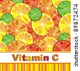 Vitamin C. Citrus fruit background vector - Lemon, Lime and Orange. Citrus texture background with slices of lemon, lime and orange. Vector stylized background. - stock vector