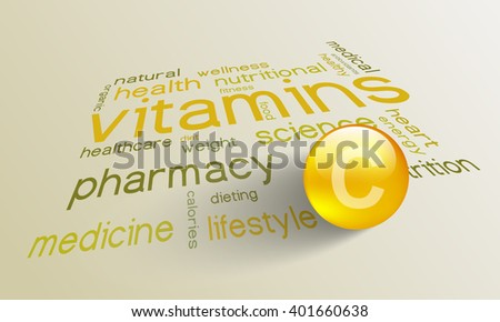 Vitamin C element for a healthy life in the word cloud - stock vector