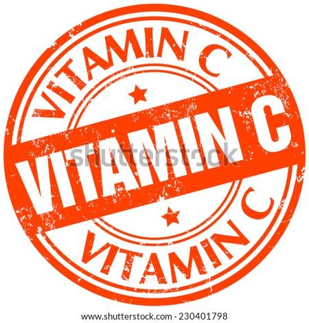vitamin c stamp - stock vector