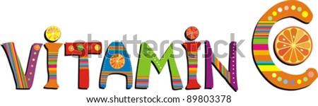 Vitamin C. Vector Illustration - stock vector