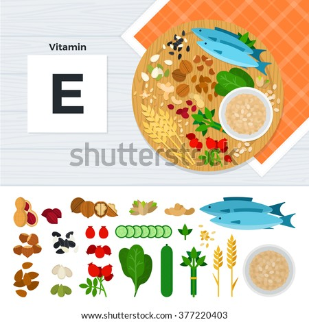 Vitamin e vector flat illustrations foods stock vector 377220403 vitamin e vector flat illustrations foods containing vitamin e on the table source of workwithnaturefo