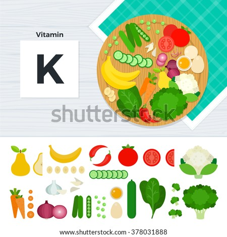 Vitamin K vector flat illustrations. Foods containing vitamin K on the table. Source of vitamin K: carrot, banana, tomato, eggs, cabbage isolated on white background