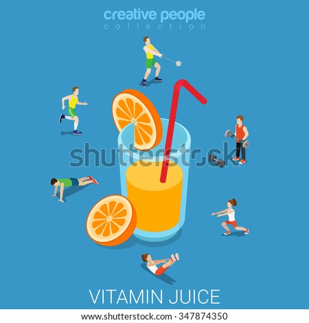 Vitamin orange citrus juice flat 3d isometry isometric healthy lifestyle concept web vector illustration. Micro sportsmen around big glass of beverage. Creative people collection. - stock vector