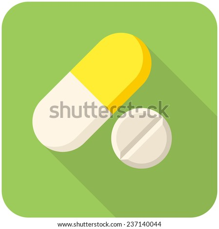 Vitamin pills, modern flat icon with long shadow - stock vector