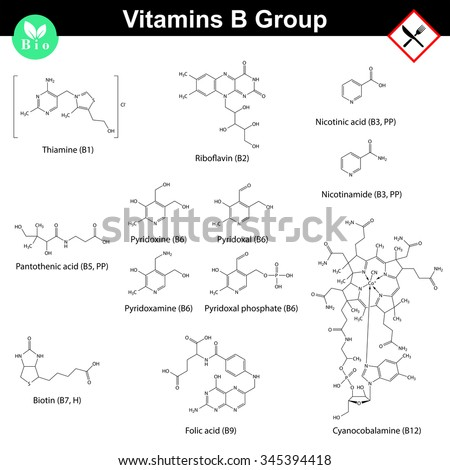 Vitamins of b group, molecular structures, 2d vector chemical formulas, eps 8 - stock vector