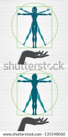 Vitruvian woman - stock vector