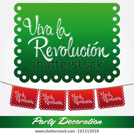 Viva la revolucion - Long live the revolution spanish text - vector mexican decoration - stock vector