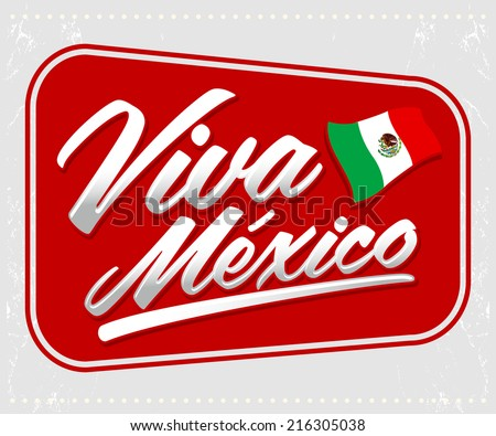 Viva Mexico - mexican holiday lettering - icon emblem vector decoration - stock vector