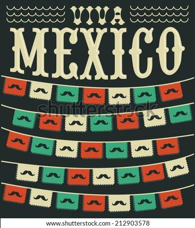 Viva Mexico - mexican mustache holiday vector decoration - stock vector