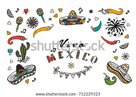 Viva mexico vector greeting card hand stock vector 712229323 viva mexico vector greeting card with hand drawn doodle sombrero cactus maracas sun m4hsunfo Image collections