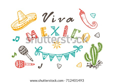 Viva mexico vector greeting card hand stock vector hd royalty free viva mexico vector greeting card with hand drawn doodle sombrero cactus maracas sun m4hsunfo Image collections