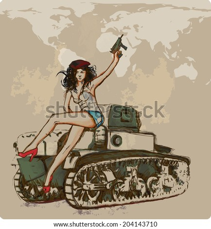 Viva Revolution ! (Young beautiful revolutionaries sitting on a tank.) A hand drawn illustration - vector is editable in five layers. - stock vector