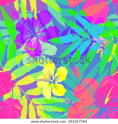 Vivid colors bright tropical flowers vector seamless pattern - stock vector
