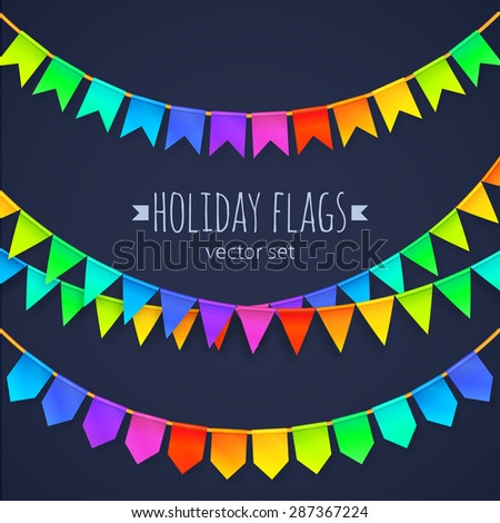 Vivid colors rainbow flags garlands vector set isolated on dark background - stock vector