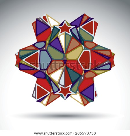 Vivid dimensional abstract figure constructed from triangles, stars and geometric elements. Vector kaleidoscope transform design object isolated on white background. - stock vector