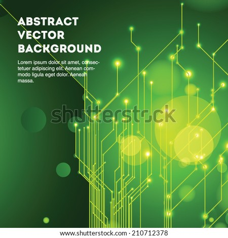 Vivid eco green abstract vector techno background with circles. Editable eps 10 illustration. - stock vector
