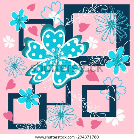 Vivid flowers on the colorfull background.  Vector illustration. - stock vector