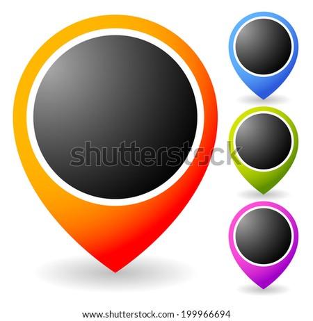Vivid map marker, map pin, needle graphic - stock vector