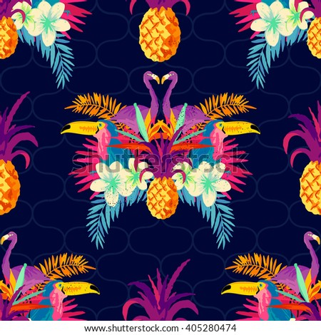 Vivid Tropical Seamless Pattern.  - stock vector