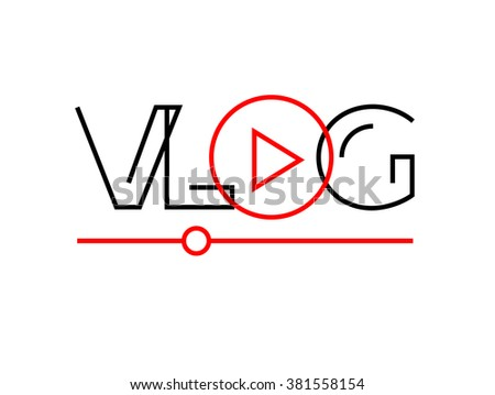 Vlog or video blog line icon with play button. Vector illustration. - stock vector