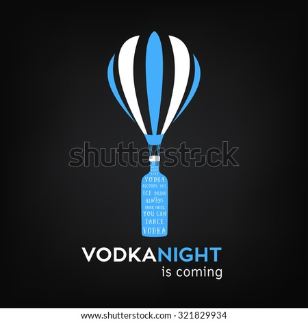 Vodka bottle on an air balloon vector for pub and party over black background. - stock vector
