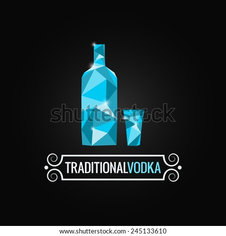 vodka bottle poly design background - stock vector