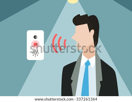 Voice control vector illustration. Smart computer voice control with human voice. Smart phone, smart house, modern computer technology.Voice control command background.Voice control businessman office - stock vector