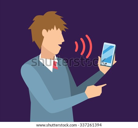 Voice control vector illustration. Smart computer voice control with human voice. Smart phone, smart house, modern computer technology. Voice control command boy man on background. Voice control icon - stock vector
