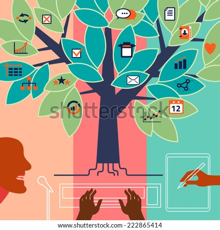 Voice, text, manual data input. Concept illustration - stock vector