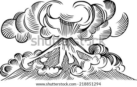 Volcano - stock vector