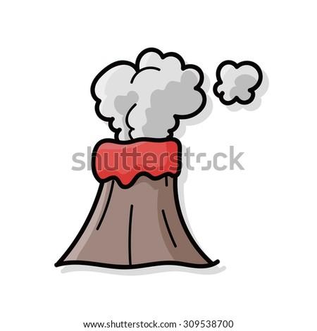 volcano doodle - stock vector