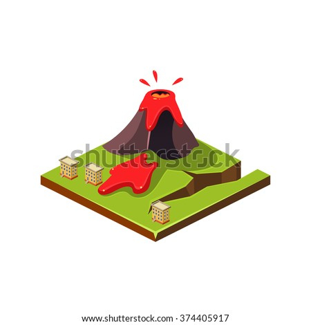 Volcano Erruption and Lava. Natural Disaster Icon. 3d Vector Illustration