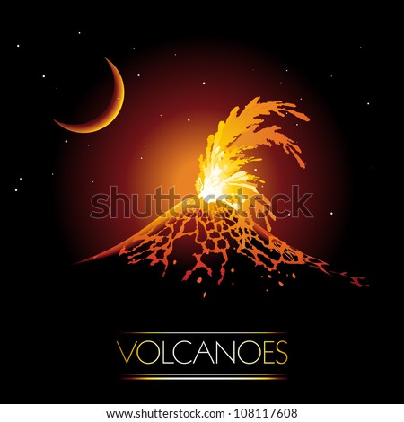Volcano erupting and spewing glowing lava - stock vector