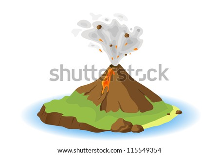 volcano erupting on island, vector illustration - stock vector