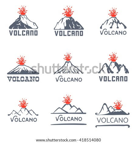 Volcano eruption logo set, vector icons illustration on white background - stock vector