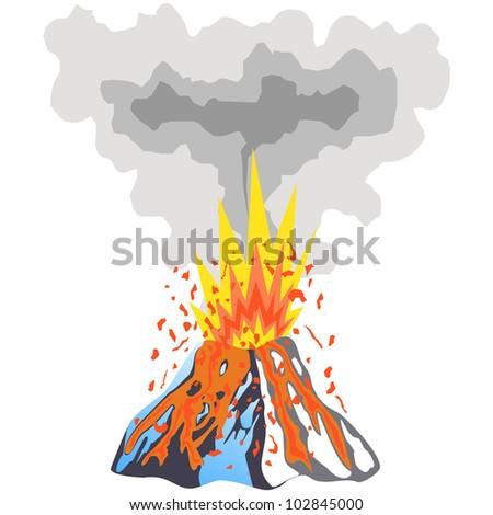 Volcano Eruption Vector - stock vector
