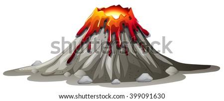Volcano eruption with hot lava illustration - stock vector