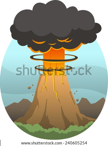 Volcano eruption with smoke and erupting lava at mountain top, vector illustration cartoon. - stock vector