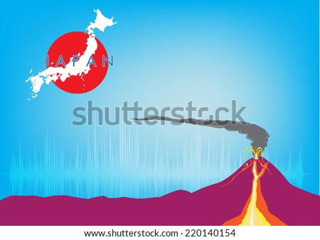 Volcano in Japan erupts with ashfall concept. - stock vector