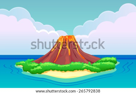 Volcano island with lava flowing - stock vector