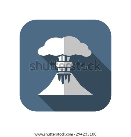 volcano mountain erupting icon - stock vector