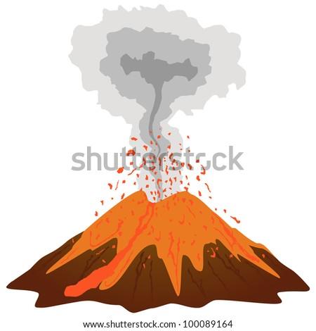 Volcano mountain erupting. Vector - stock vector